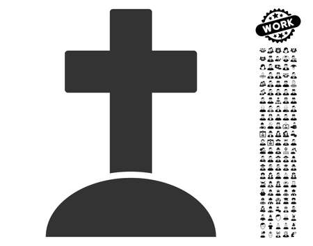 검은 보너스 사람들이 기호로 묘지 아이콘입니다. 무덤 벡터 일러스트 레이 션 스타일은 웹 디자인, 응용 프로그램 사용자 인터페이스에 대한 평면 회