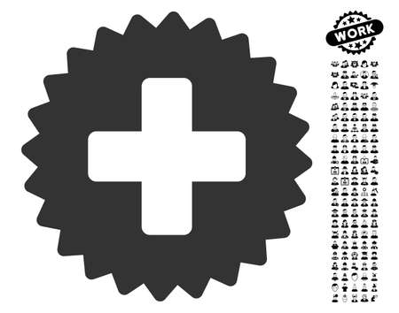 new addition: Health Care Stamp icon with black bonus professional pictograph collection. Health Care Stamp vector illustration style is a flat gray iconic element for web design, app user interfaces. Illustration