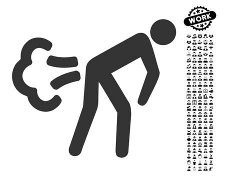 Fart icon with black bonus profession clip art. Fart vector illustration style is a flat gray iconic element for web design, app user interfaces.