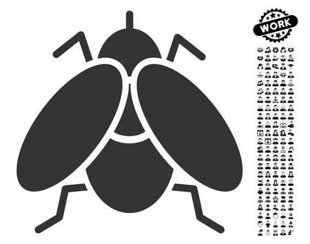 Fly icon with black bonus job pictogram in flat gray iconic element vector illustration
