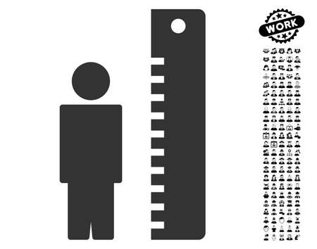 Height Meter icon with black bonus men clip art. Height Meter vector illustration style is a flat gray iconic element for web design, app user interfaces.
