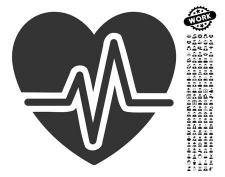heart disease: Heart Diagram icon with black bonus people graphic icons in flat gray iconic element vector illustration