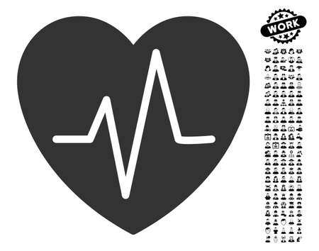 Heart EKG icon with black bonus work pictograph collection in flat gray iconic element vector illustration