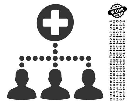medical distribution: Medical Client Links icon with black bonus professional graphic icons. Medical Client Links vector illustration style is a flat gray iconic symbol for web design, app user interfaces.