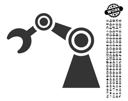 machinery: Manipulator icon with black bonus profession pictograms. Manipulator vector illustration style is a flat gray iconic symbol for web design, app user interfaces.