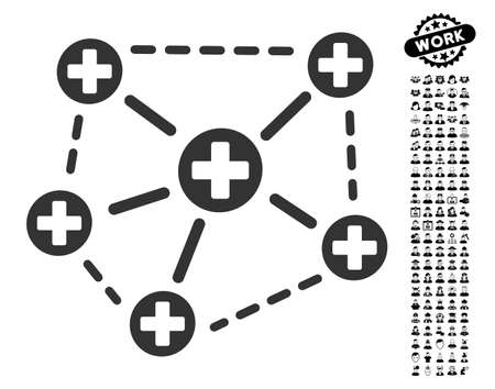 Medical Network Structure icon with black bonus professional pictograms. Medical Network Structure vector illustration style is a flat gray iconic symbol for web design, app user interfaces.