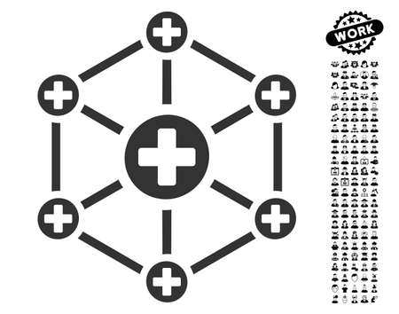 Medical Network icon with black bonus profession icon set. Medical Network vector illustration style is a flat gray iconic symbol for web design, app user interfaces. Illustration