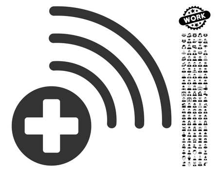 wireless: Medical Source icon with black bonus people pictograph collection. Medical Source vector illustration style is a flat gray iconic element for web design, app user interfaces.