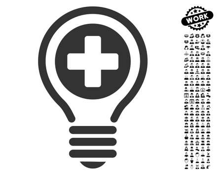 new addition: Medical Bulb icon with black bonus men design elements. Medical Bulb vector illustration style is a flat gray iconic element for web design, app user interfaces.