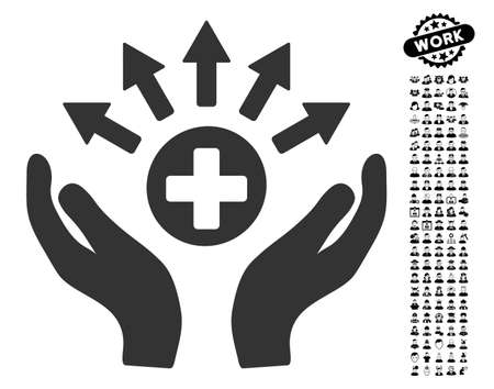 new addition: Medical Distribution Care Hands icon with black bonus people design elements. Medical Distribution Care Hands vector illustration style is a flat gray iconic symbol for web design,