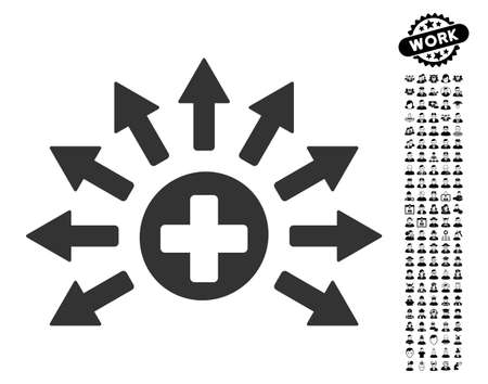 Medical Distribution icon with black bonus men design elements. Medical Distribution vector illustration style is a flat gray iconic element for web design, app user interfaces. Illustration