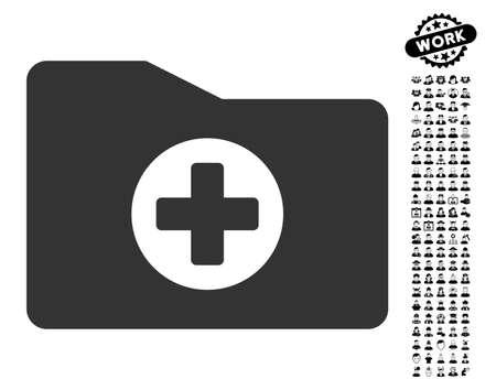 documentation: Medical Folder icon with black bonus men icon set. Medical Folder vector illustration style is a flat gray iconic element for web design, app user interfaces.