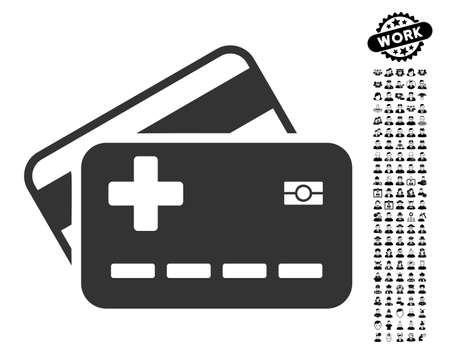 allowed to pass: Medical Insurance Cards icon with black bonus work clip art. Medical Insurance Cards vector illustration style is a flat gray iconic element for web design, app user interfaces. Illustration