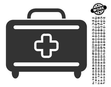 Medical Baggage-Symbol mit schwarzem Bonusjob-Ikonensatz. Medizinische Gepäckvektor-Illustrationsart ist ein flaches graues ikonenhaftes Symbol für Webdesign, APP-Benutzerschnittstellen.