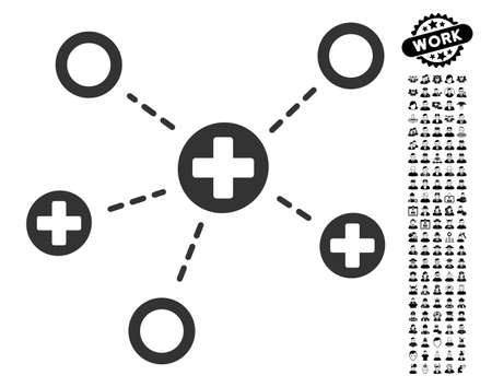Medical Links Icon With Black Bonus People Symbols Medical Links