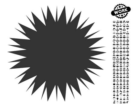 Microbe Spore icon with black bonus work pictograms. Microbe Spore vector illustration style is a flat gray iconic element for web design, app user interfaces. Illustration