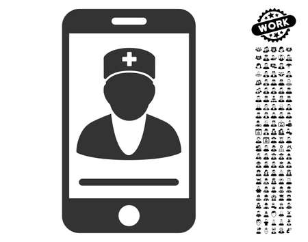 wireless: Mobile Doctor icon with black bonus job pictograms. Mobile Doctor vector illustration style is a flat gray iconic element for web design, app user interfaces.