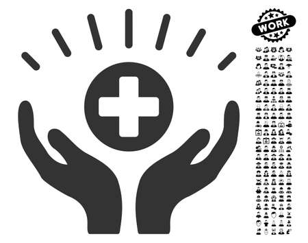 new addition: Medical Prosperity icon with black bonus job icon set. Medical Prosperity vector illustration style is a flat gray iconic symbol for web design, app user interfaces.