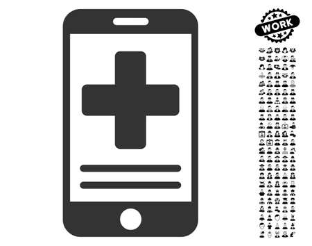 wireless: Online Medical Data icon with black bonus professional pictures. Online Medical Data vector illustration style is a flat gray iconic element for web design, app user interfaces. Illustration
