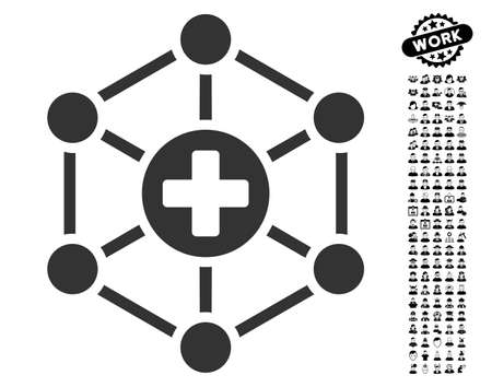 Medical Network icon with black bonus job design elements. Medical Network vector illustration style is a flat gray iconic element for web design, app user interfaces.