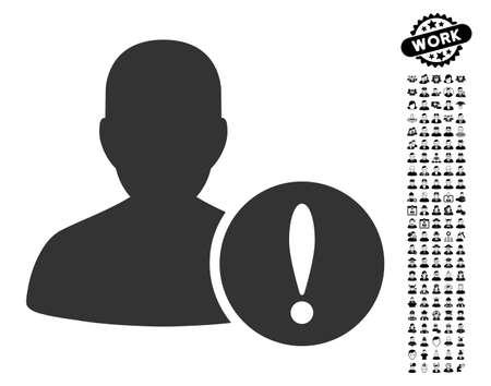 beware: Patient Problem icon with black bonus men clip art. Patient Problem vector illustration style is a flat gray iconic element for web design, app user interfaces. Illustration
