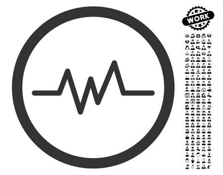 Pulse Monitoring icon with black bonus professional design elements. Pulse Monitoring vector illustration style is a flat gray iconic symbol for web design, app user interfaces.