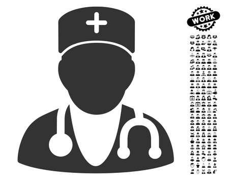 auscultation: Physician icon with black bonus people graphic icons. Physician vector illustration style is a flat gray iconic symbol for web design, app user interfaces.