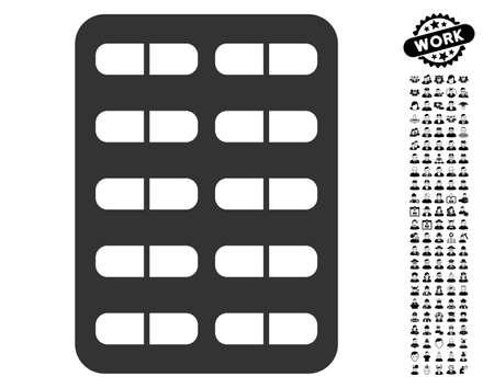 Pil Blister pictogram met zwarte bonus werk pictogramserie. Pil Blister vector illustratie stijl is een plat grijs iconisch symbool voor webdesign, app gebruikersinterfaces. Stock Illustratie