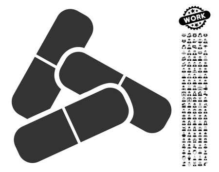 Pillen pictogram met zwarte bonus beroep grafische pictogrammen. Pillen vector illustratie stijl is een plat grijs iconisch element voor webdesign, app gebruikersinterfaces.