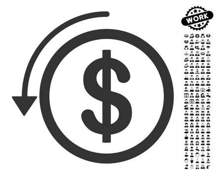黒ボーナス ジョブ デザイン要素アイコンを返金いたします。払い戻しベクトル スタイルのイラストは、web デザイン、アプリのユーザー インターフ