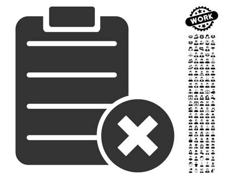 Reject Form icon with black bonus work graphic icons. Reject Form vector illustration style is a flat gray iconic symbol for web design, app user interfaces.