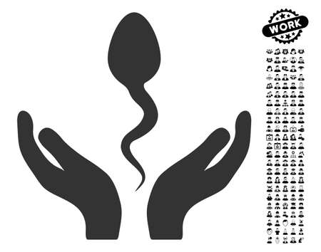 Sperm Care Hands icon with black bonus work pictograms. Sperm Care Hands vector illustration style is a flat gray iconic element for web design, app user interfaces. Illustration