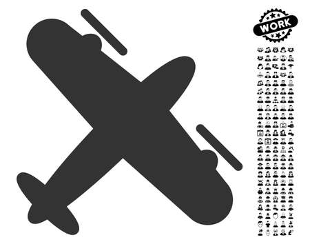 Screw Aeroplane icon with black bonus men design elements. Screw Aeroplane vector illustration style is a flat gray iconic symbol for web design, app user interfaces.