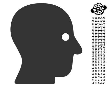 silent: Silent Head icon with black bonus profession icon set. Silent Head vector illustration style is a flat gray iconic symbol for web design, app user interfaces.