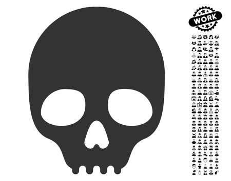 dangerous man: Skull icon with black bonus job clip art. Skull vector illustration style is a flat gray iconic symbol for web design, app user interfaces.