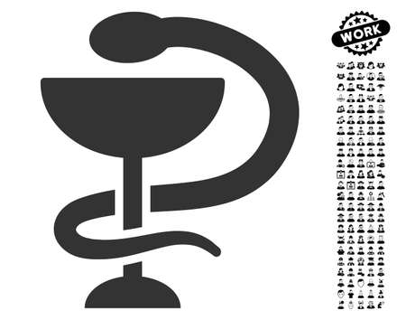 Snake Cup icon with black bonus people clip art. Snake Cup vector illustration style is a flat gray iconic element for web design, app user interfaces.