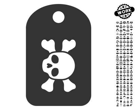danger: Morgue Mark icon with black bonus men pictograms. Morgue Mark vector illustration style is a flat gray iconic element for web design, app user interfaces.