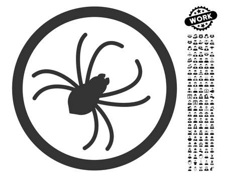 Spider icon with black bonus men pictograph collection. Spider vector illustration style is a flat gray iconic element for web design, app user interfaces. Illustration