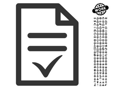 Valid Document icon with black bonus people images. Valid Document vector illustration style is a flat gray iconic element for web design, app user interfaces. Illustration