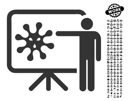 ameba: Virus Lecture icon with black bonus job clip art. Virus Lecture vector illustration style is a flat gray iconic symbol for web design, app user interfaces.