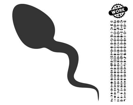 Zoosperm icon with black bonus job pictograms. Zoosperm vector illustration style is a flat gray iconic symbol for web design, app user interfaces. Illustration