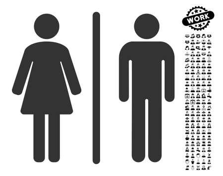 Toilettenikone mit schwarzen Bonusjobbildern. Toilettenvektor-Illustrationsart ist ein flaches graues ikonenhaftes Symbol für Webdesign, APP-Benutzerschnittstellen. Standard-Bild - 82802174