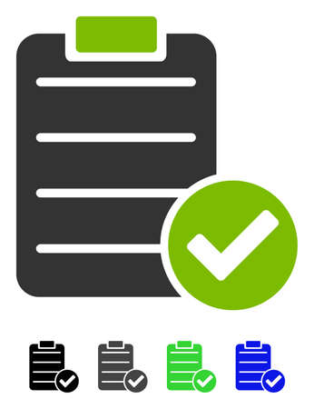 confirmed: Approve List flat vector pictograph. Approve List icon with color versions.