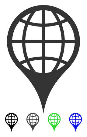 Global Location flat vector illustration. Global Location icon with gray, black, blue, green color versions. Illustration