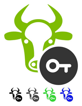 Cow Key flat vector icon. Cow Key icon with gray, black, blue, green color versions.