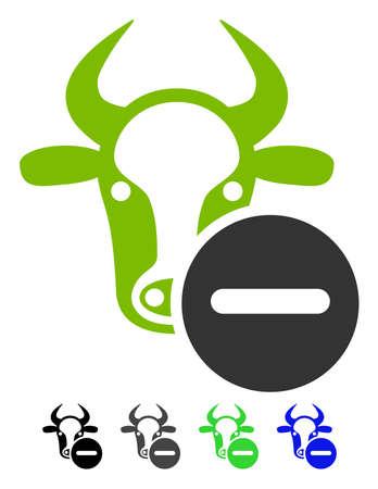 refuse: Cow Remove flat vector icon. Cow Remove icon with color versions. Illustration