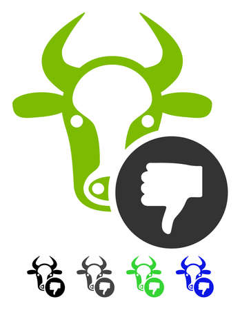 Cow Thumb Down flat vector pictograph. Cow Thumb Down icon with gray, black, blue, green color versions. Illustration