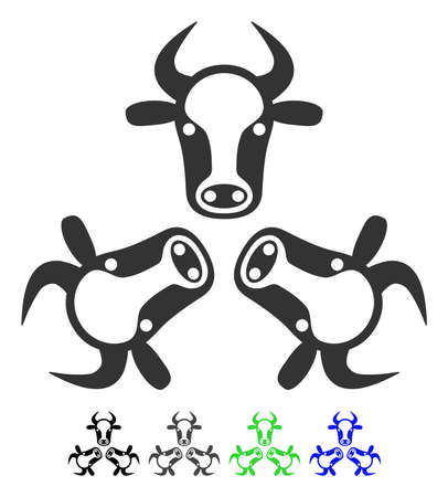 Cow Trinity flat vector illustration. Cow Trinity icon with gray, black, blue, green color versions.
