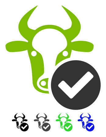 validation: Cow Valid flat vector illustration. Cow Valid icon with gray, black, blue, green color versions.
