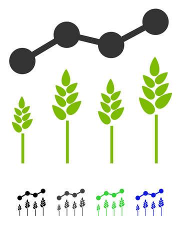 Icône de vecteur plat de cultures Analytics. Icône de recadrage analytique avec les versions de couleur grise, noire, bleue et verte. Vecteurs